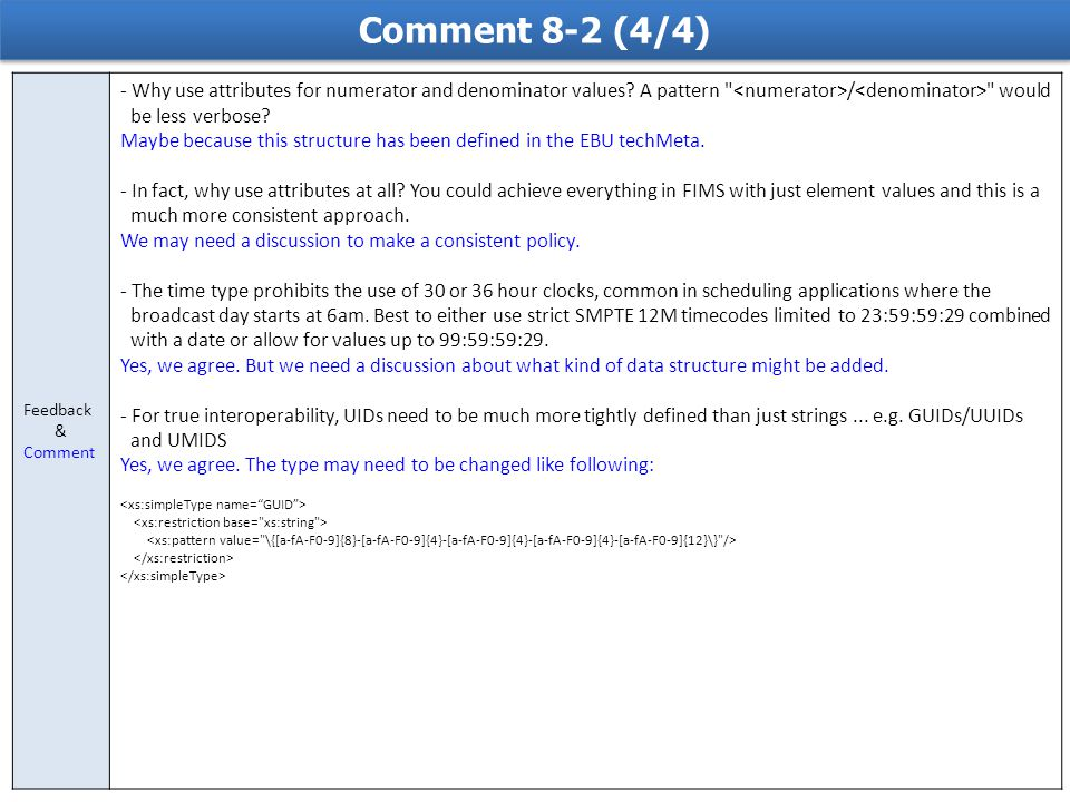 Comment 8-2 (4/4) Feedback & Comment - Why use attributes for numerator and denominator values.