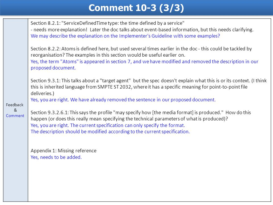 Comment 10-3 (3/3) Feedback & Comment Section 8.2.1: