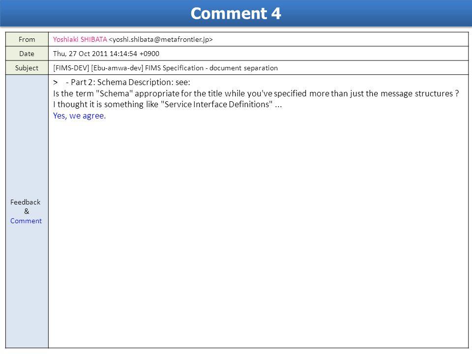 Comment 4 FromYoshiaki SHIBATA DateThu, 27 Oct 2011 14:14:54 +0900 Subject[FIMS-DEV] [Ebu-amwa-dev] FIMS Specification - document separation Feedback