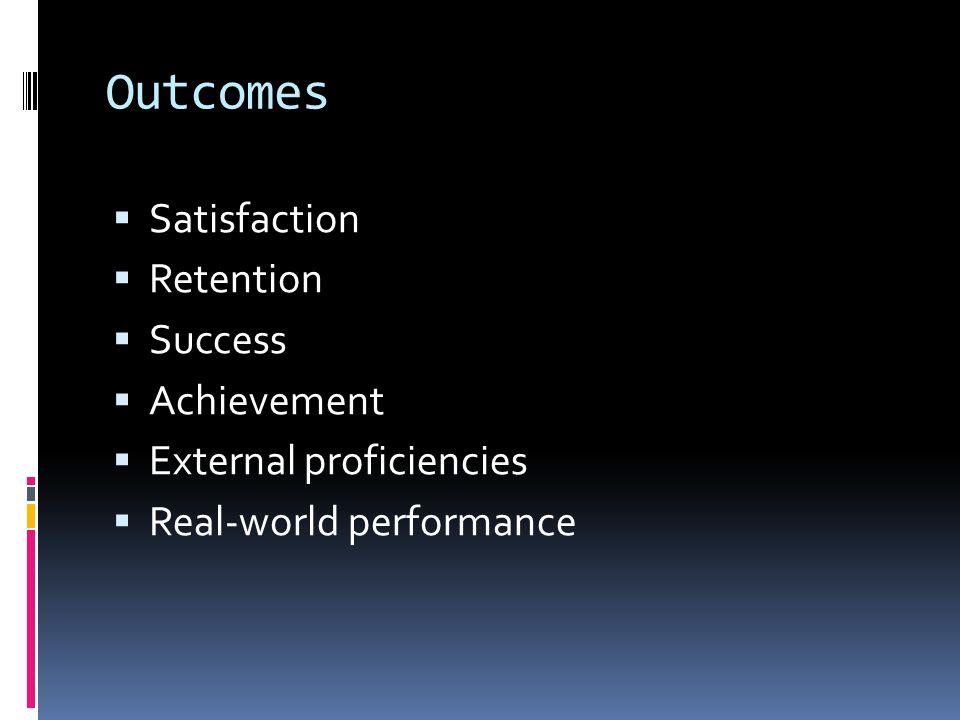 Outcomes Satisfaction Retention Success Achievement External proficiencies Real-world performance