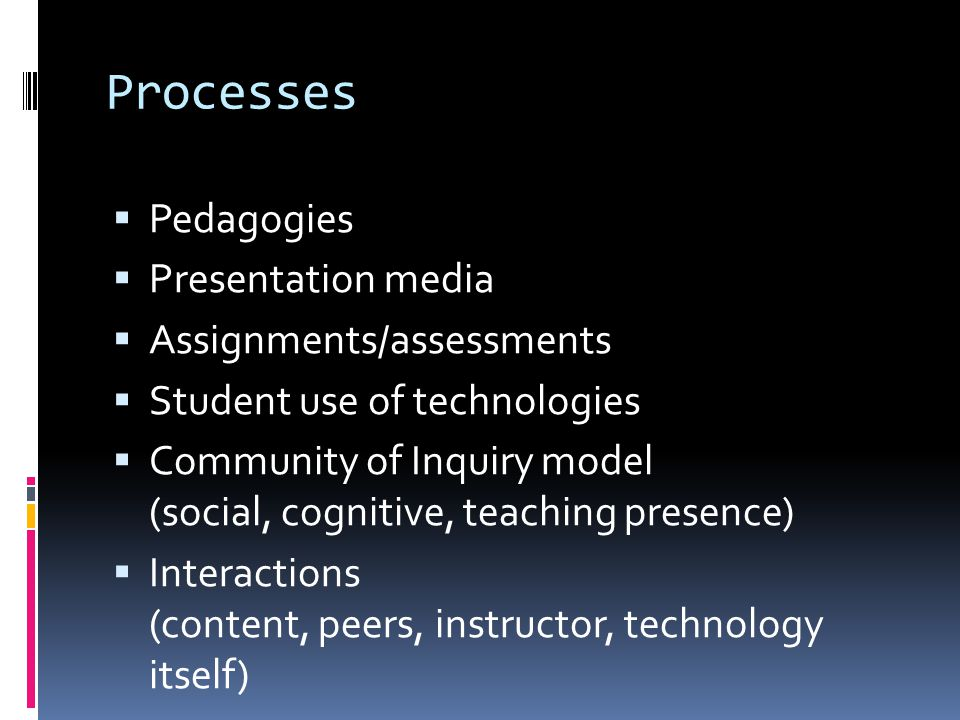 Processes Pedagogies Presentation media Assignments/assessments Student use of technologies Community of Inquiry model (social, cognitive, teaching presence) Interactions (content, peers, instructor, technology itself)
