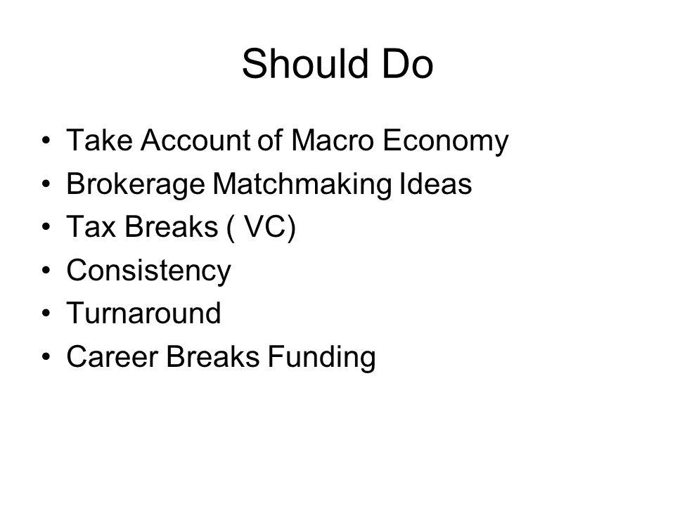 Should Do Take Account of Macro Economy Brokerage Matchmaking Ideas Tax Breaks ( VC) Consistency Turnaround Career Breaks Funding
