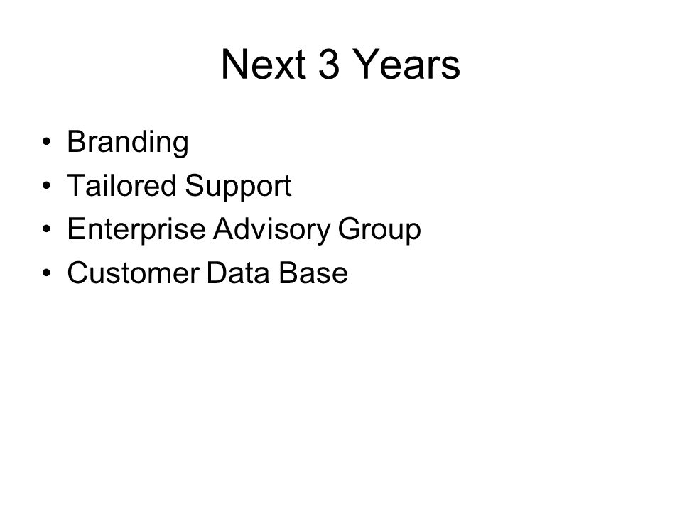 Next 3 Years Branding Tailored Support Enterprise Advisory Group Customer Data Base