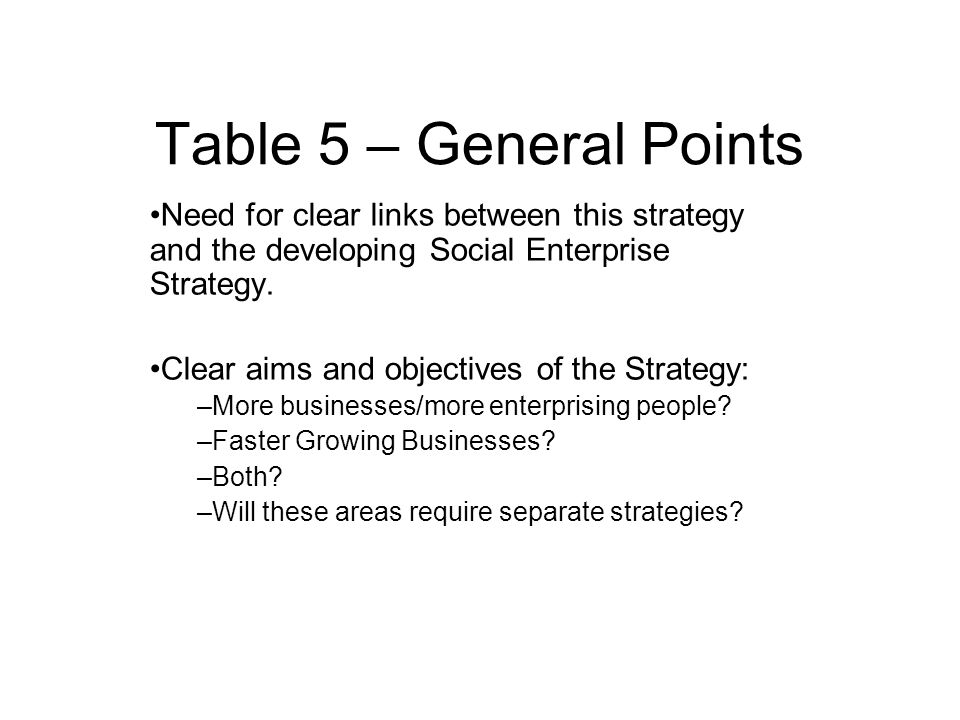Table 5 – General Points Need for clear links between this strategy and the developing Social Enterprise Strategy.