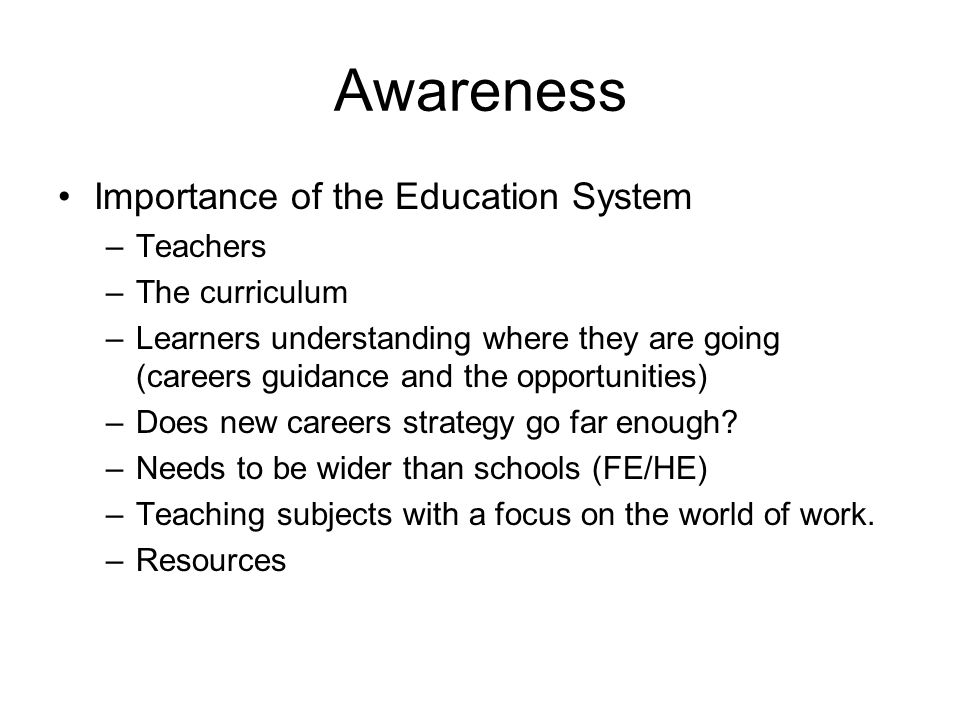 Awareness Importance of the Education System –Teachers –The curriculum –Learners understanding where they are going (careers guidance and the opportunities) –Does new careers strategy go far enough.