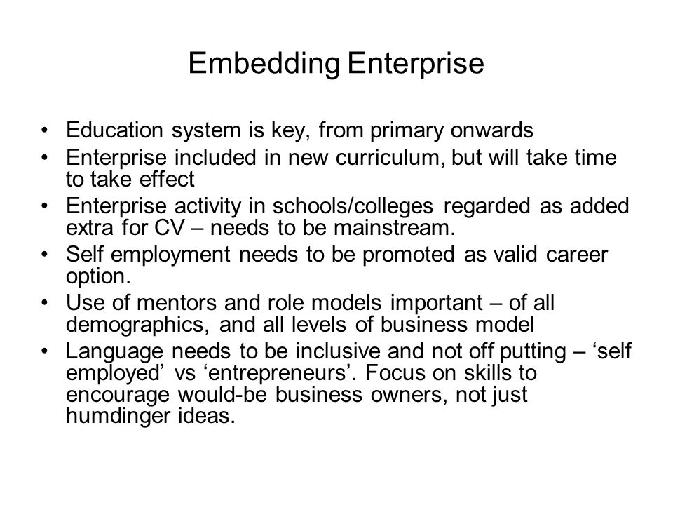 Embedding Enterprise Education system is key, from primary onwards Enterprise included in new curriculum, but will take time to take effect Enterprise activity in schools/colleges regarded as added extra for CV – needs to be mainstream.