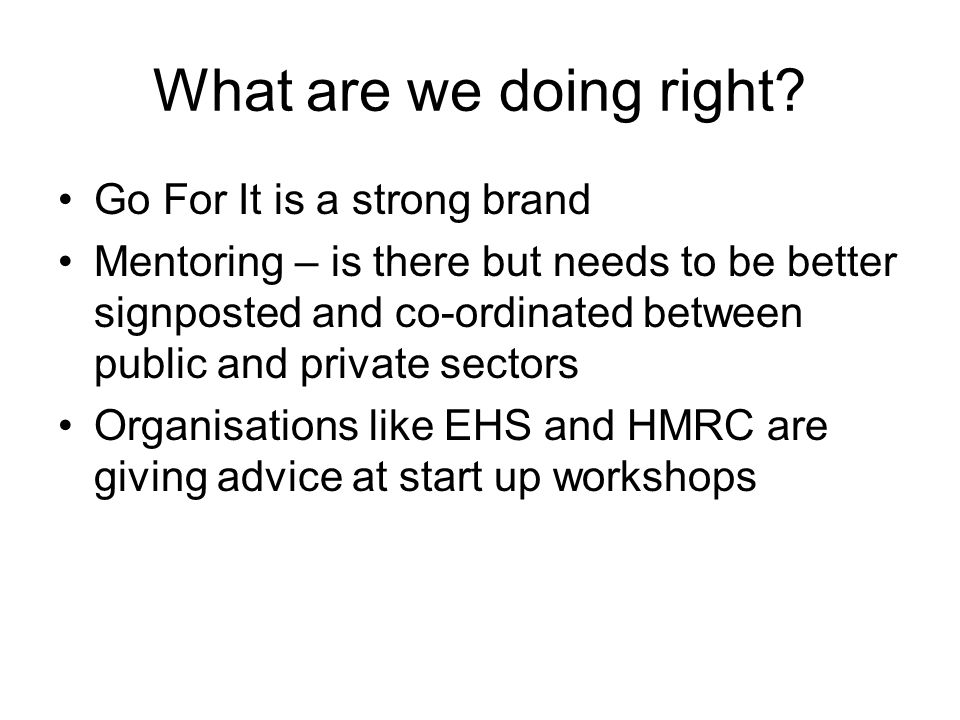 What are we doing right? Go For It is a strong brand Mentoring – is there but needs to be better signposted and co-ordinated between public and privat