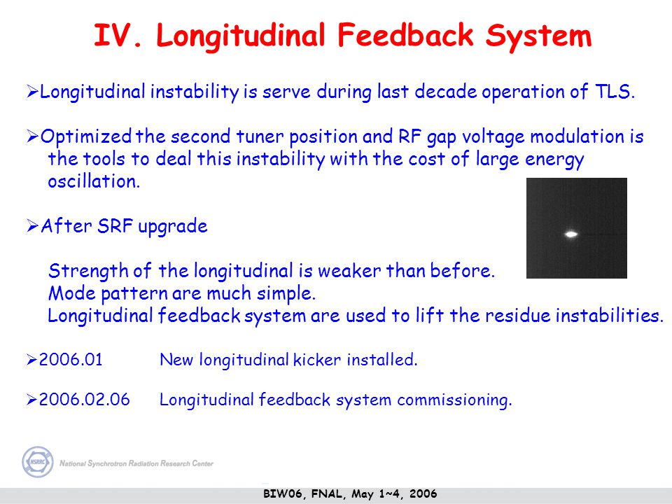 IV. Longitudinal Feedback System Longitudinal instability is serve during last decade operation of TLS. Optimized the second tuner position and RF gap