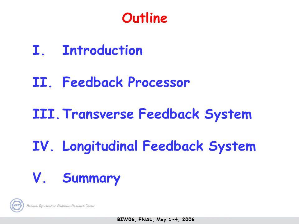 I.Introduction II.Feedback Processor III.Transverse Feedback System IV.Longitudinal Feedback System V.Summary Outline BIW06, FNAL, May 1~4, 2006