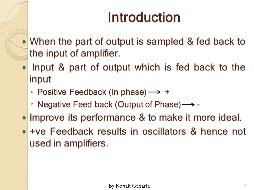 Introduction When the part of output is sampled & fed back to the input of amplifier. When the part of output is sampled & fed back to the input of am