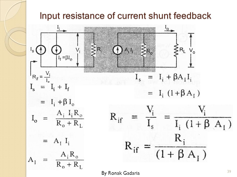 Input resistance of current shunt feedback By Ronak Gadaria 39