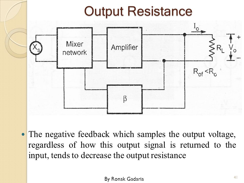 Output Resistance The negative feedback which samples the output voltage, regardless of how this output signal is returned to the input, tends to decr