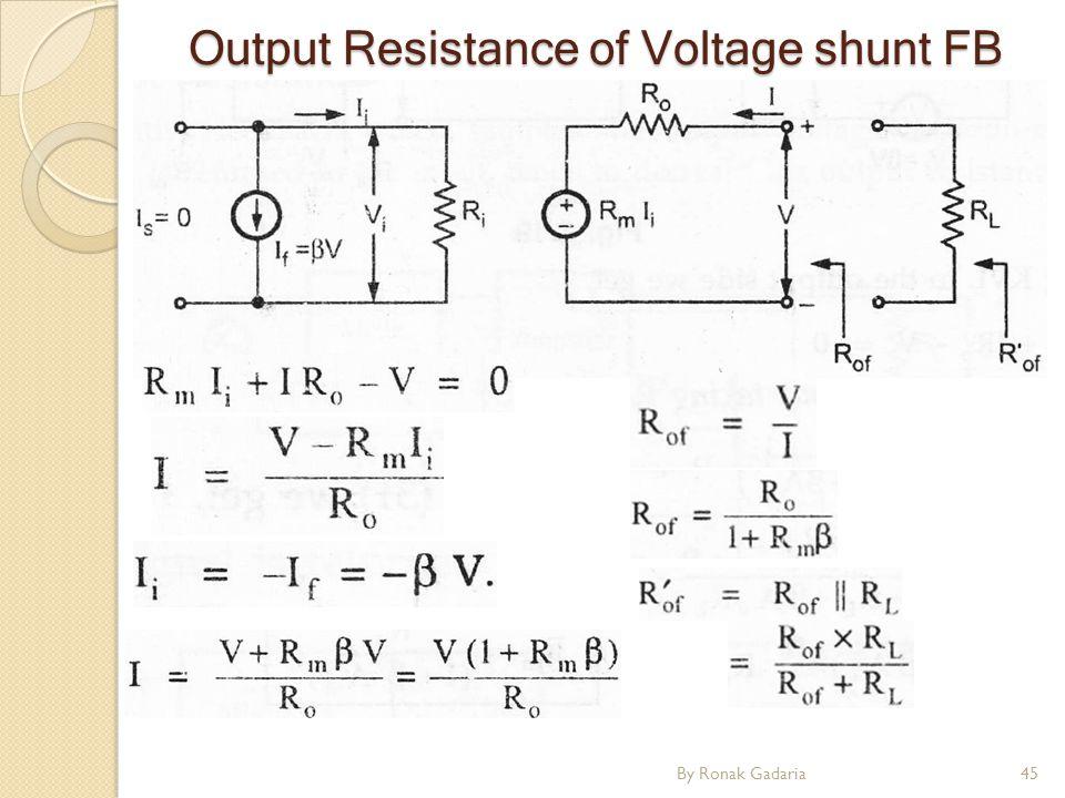 By Ronak Gadaria45 Output Resistance of Voltage shunt FB