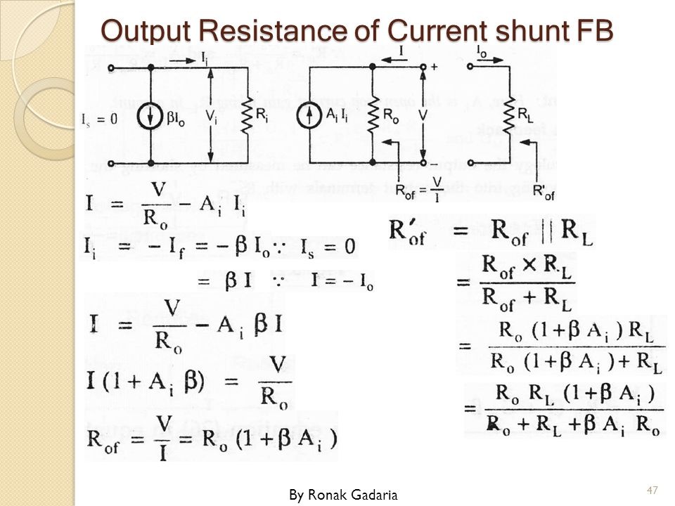 Output Resistance of Current shunt FB By Ronak Gadaria 47