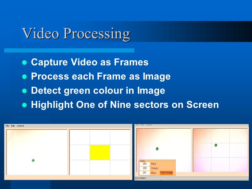 Video Processing Capture Video as Frames Process each Frame as Image Detect green colour in Image Highlight One of Nine sectors on Screen