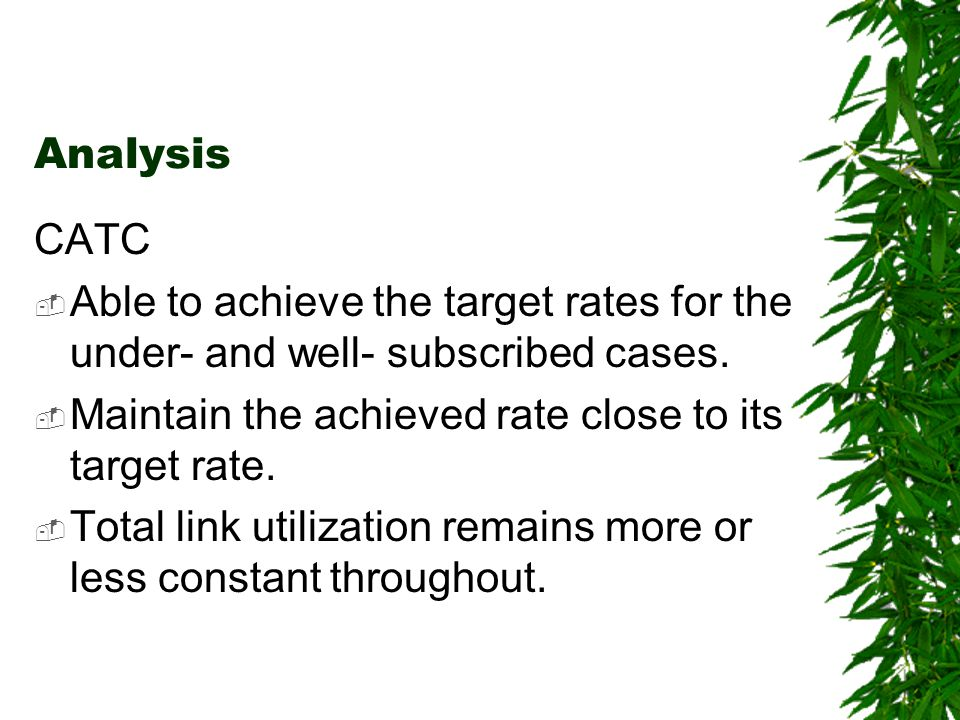 Analysis CATC Able to achieve the target rates for the under- and well- subscribed cases.