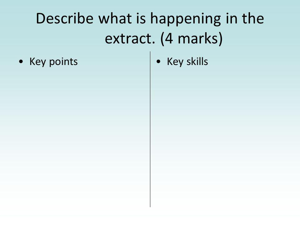 Describe what is happening in the extract. (4 marks) Key pointsKey skills