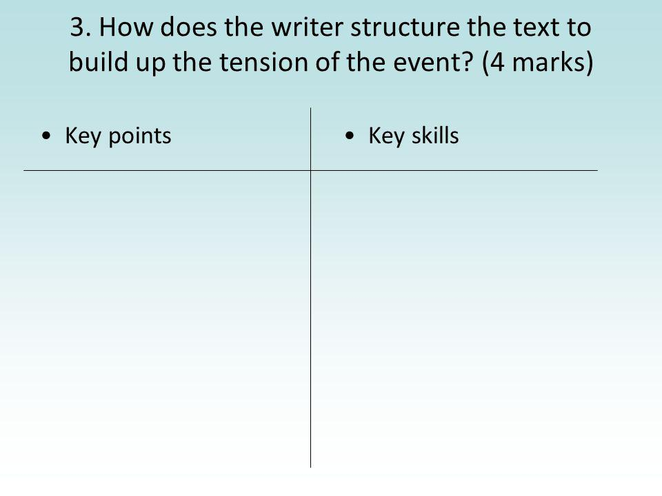 3. How does the writer structure the text to build up the tension of the event? (4 marks) Key pointsKey skills