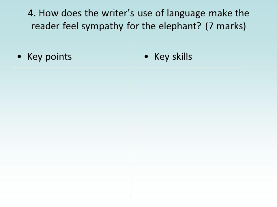 4. How does the writers use of language make the reader feel sympathy for the elephant? (7 marks) Key pointsKey skills