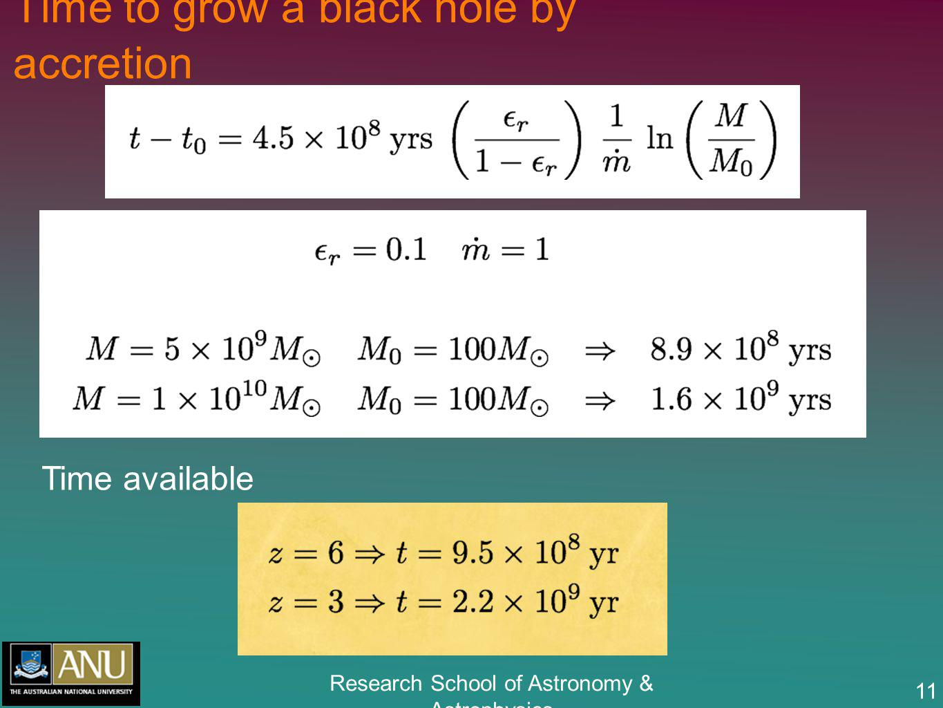 Research School of Astronomy & Astrophysics 11 Time to grow a black hole by accretion Time available
