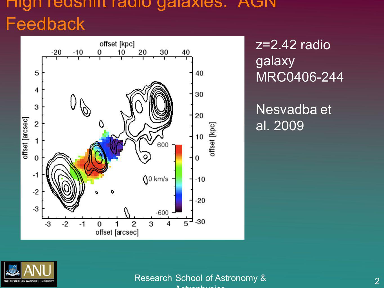 Research School of Astronomy & Astrophysics 2 High redshift radio galaxies: AGN Feedback z=2.42 radio galaxy MRC0406-244 Nesvadba et al.