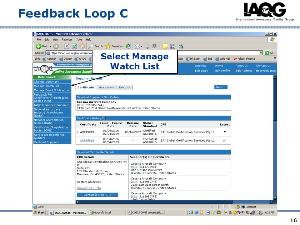 16 Feedback Loop C Select Manage Watch List