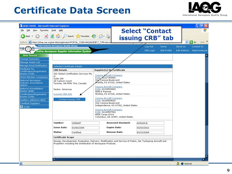 9 Certificate Data Screen Select Contact issuing CRB tab