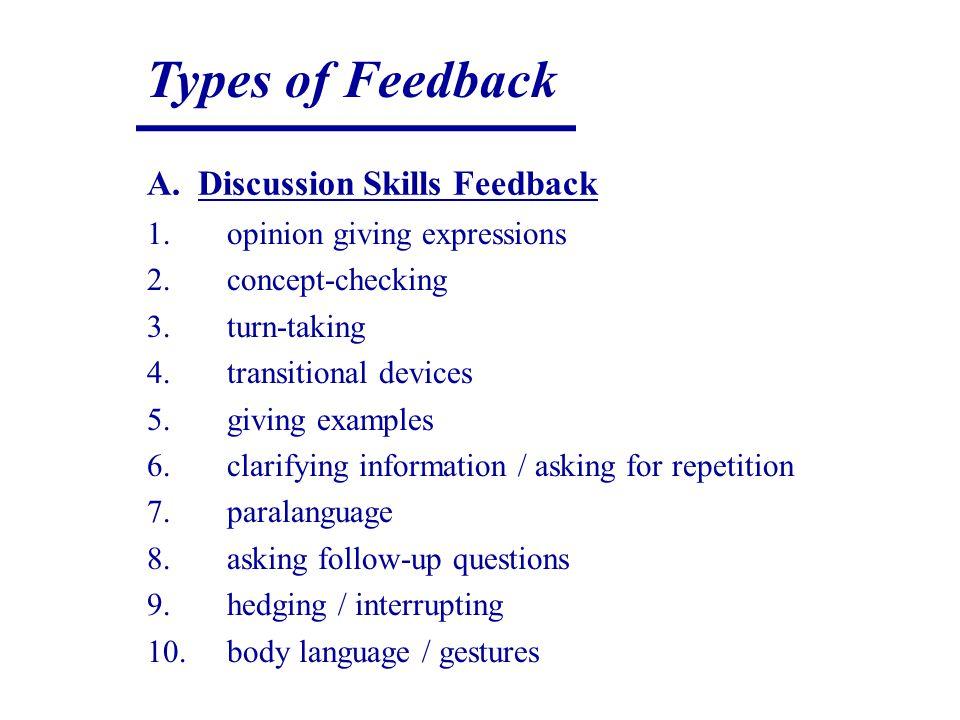 Types of Feedback A. Discussion Skills Feedback 1.