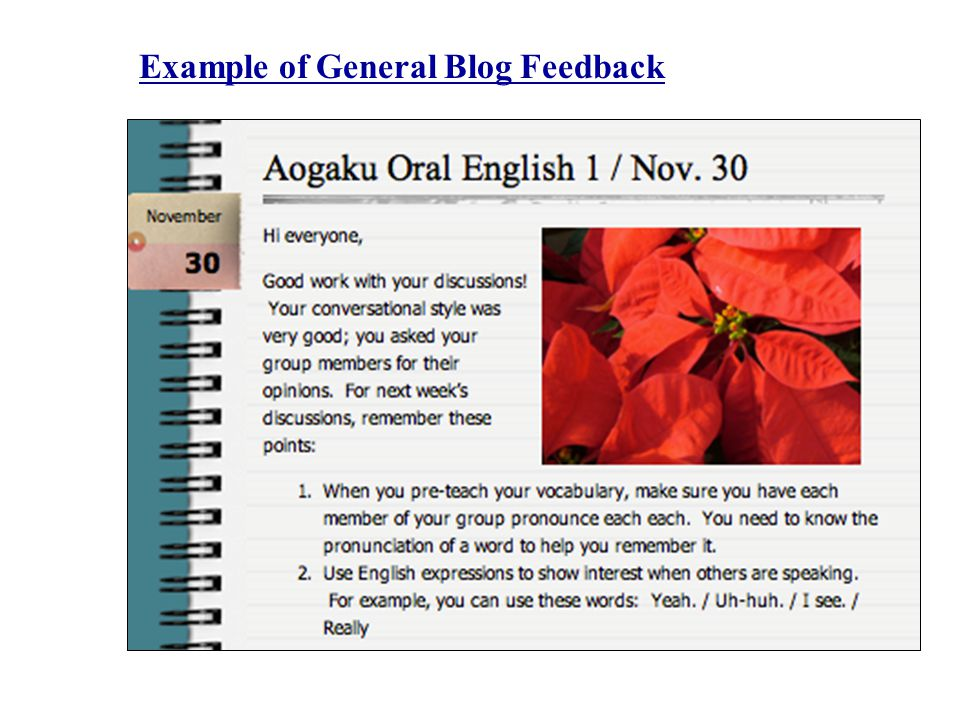 Example of General Blog Feedback