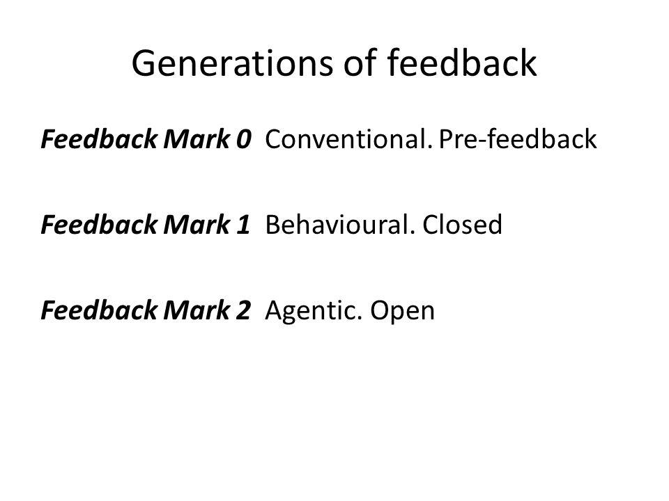 Generations of feedback Feedback Mark 0 Conventional. Pre-feedback Feedback Mark 1 Behavioural. Closed Feedback Mark 2 Agentic. Open