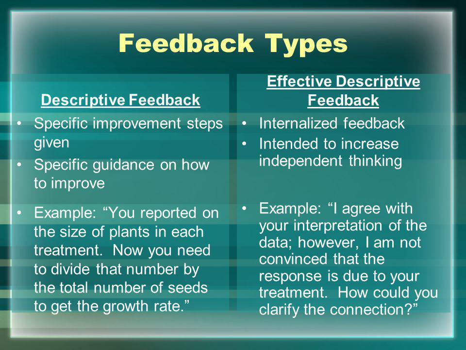 Feedback Types Descriptive Feedback Specific improvement steps given Specific guidance on how to improve Example: You reported on the size of plants in each treatment.