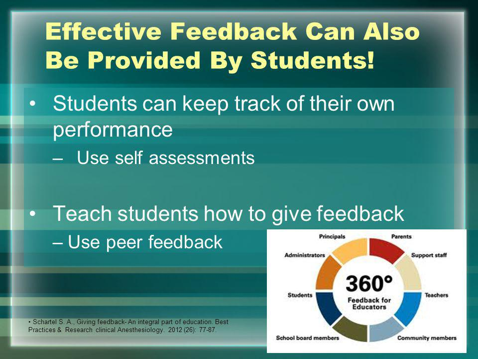 Effective Feedback Can Also Be Provided By Students! Students can keep track of their own performance –Use self assessments Teach students how to give
