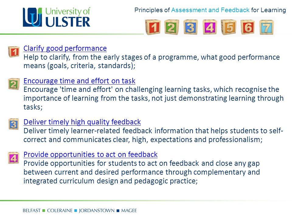 Principles of Assessment and Feedback for Learning 1.Clarify good performance Help to clarify, from the early stages of a programme, what good perform