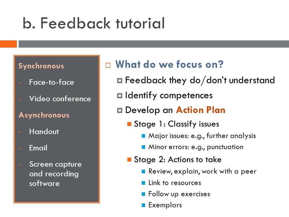 b. Feedback tutorial Synchronous Face-to-face Video conference Asynchronous Handout Email Screen capture and recording software What do we focus on? F