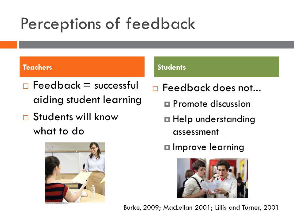 Perceptions of feedback Feedback = successful aiding student learning Students will know what to do Feedback does not...
