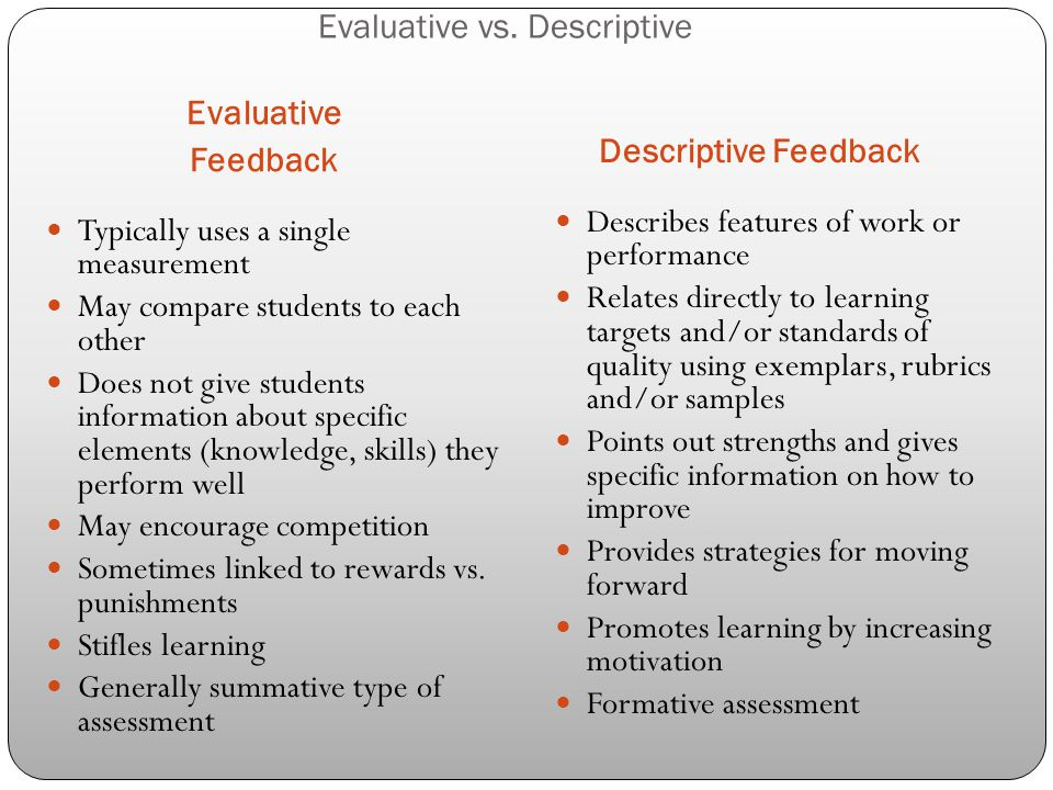 Evaluative vs. Descriptive Evaluative Feedback Descriptive Feedback Typically uses a single measurement May compare students to each other Does not gi