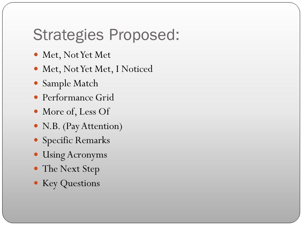 Strategies Proposed: Met, Not Yet Met Met, Not Yet Met, I Noticed Sample Match Performance Grid More of, Less Of N.B. (Pay Attention) Specific Remarks