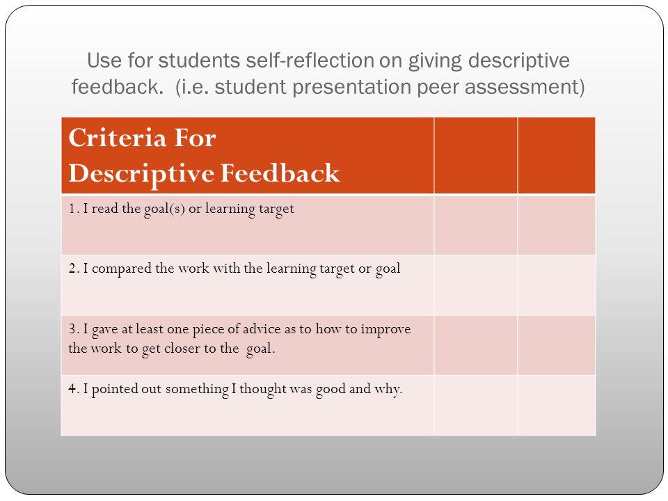 Use for students self-reflection on giving descriptive feedback. (i.e. student presentation peer assessment) Criteria For Descriptive Feedback 1. I re