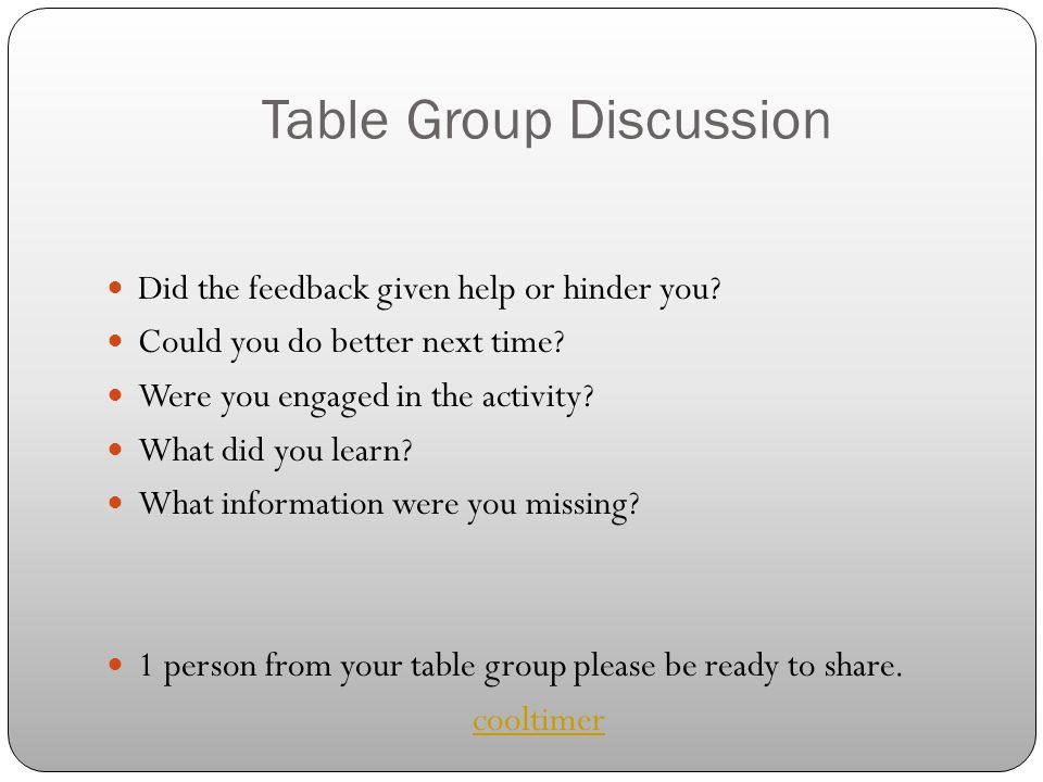Table Group Discussion Did the feedback given help or hinder you? Could you do better next time? Were you engaged in the activity? What did you learn?