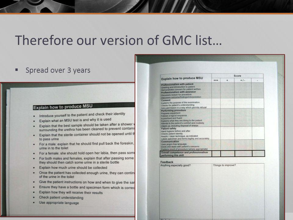 Therefore our version of GMC list… Spread over 3 years