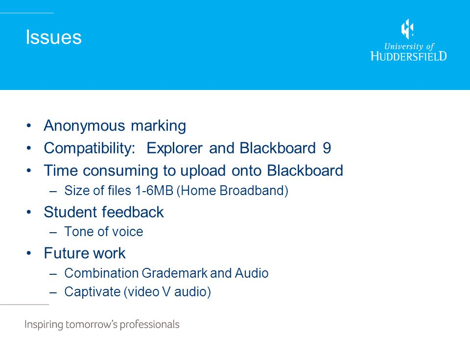 Issues Anonymous marking Compatibility: Explorer and Blackboard 9 Time consuming to upload onto Blackboard –Size of files 1-6MB (Home Broadband) Student feedback –Tone of voice Future work –Combination Grademark and Audio –Captivate (video V audio)