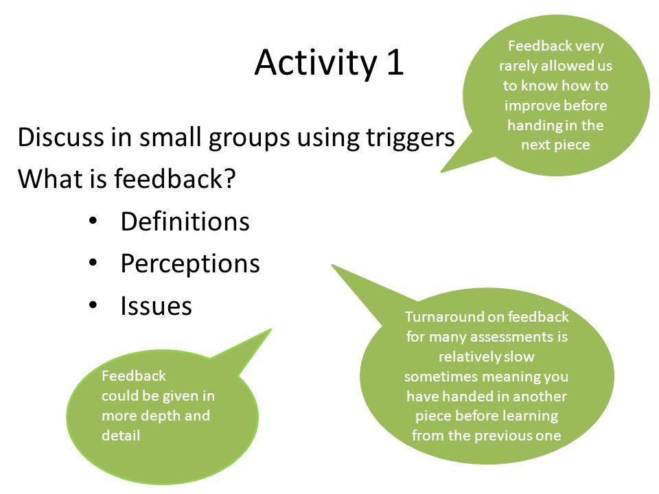 Activity 1 Discuss in small groups using triggers What is feedback? Definitions Perceptions Issues Feedback very rarely allowed us to know how to impr