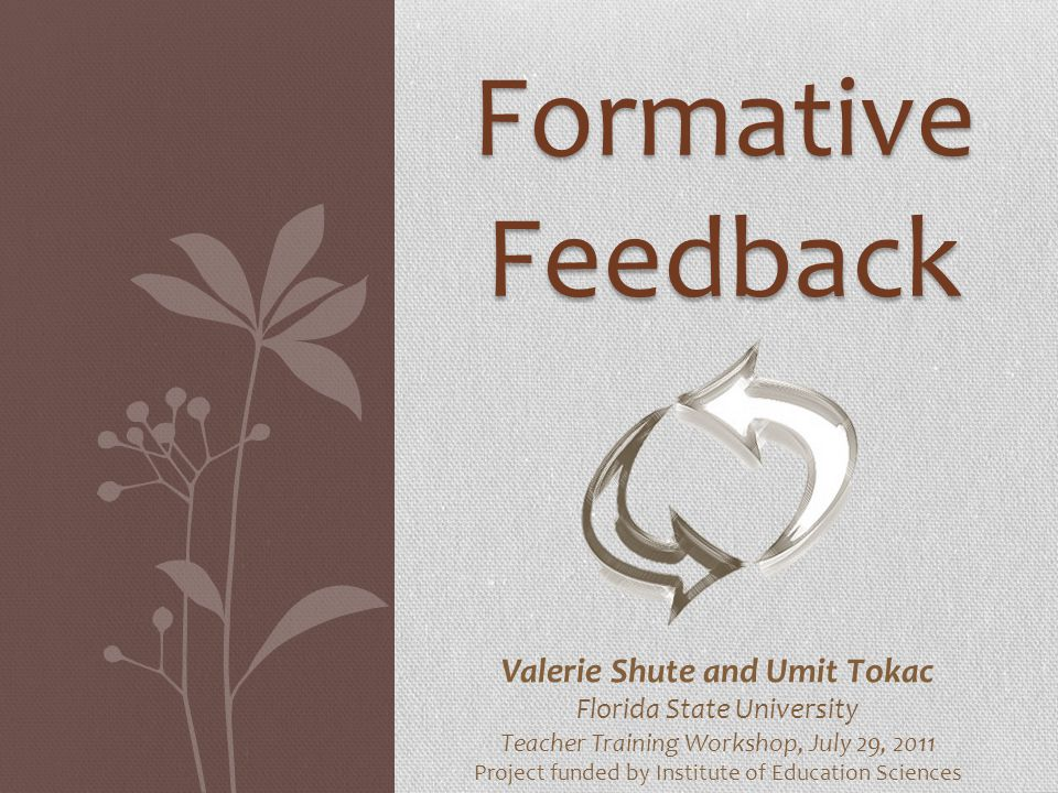Formative Feedback Valerie Shute and Umit Tokac Florida State University Teacher Training Workshop, July 29, 2011 Project funded by Institute of Educa