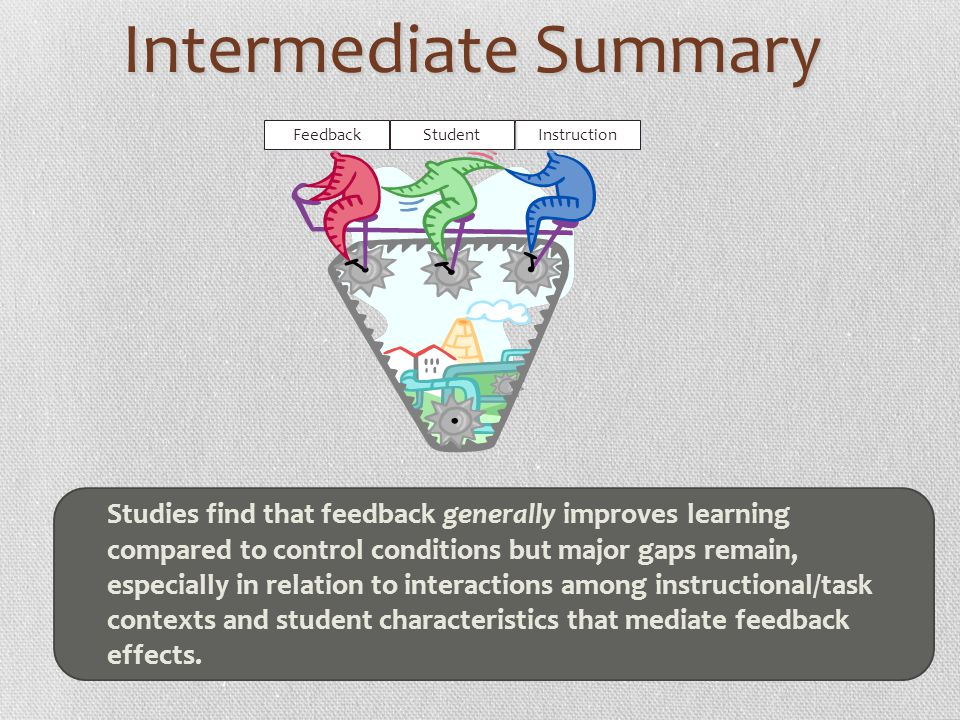 Intermediate Summary Instruction Feedback Student Studies find that feedback generally improves learning compared to control conditions but major gaps