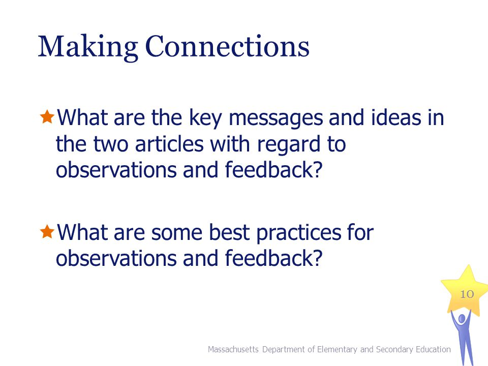 Making Connections What are the key messages and ideas in the two articles with regard to observations and feedback.
