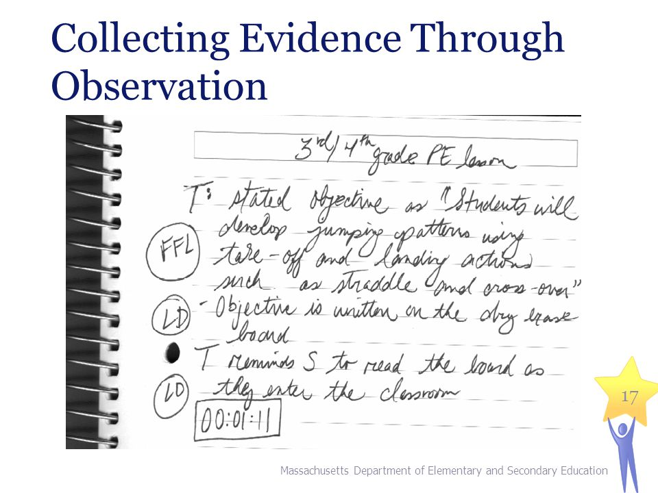 Collecting Evidence Through Observation Massachusetts Department of Elementary and Secondary Education 17