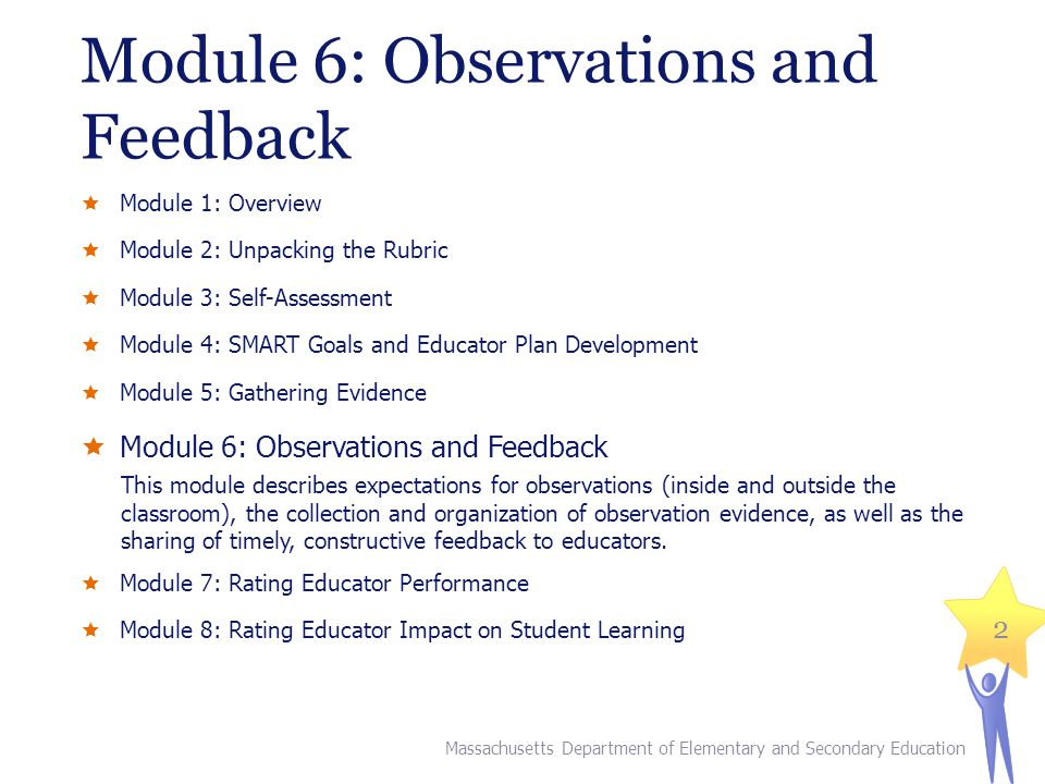 Module 6: Observations and Feedback Module 1: Overview Module 2: Unpacking the Rubric Module 3: Self-Assessment Module 4: SMART Goals and Educator Plan Development Module 5: Gathering Evidence Module 6: Observations and Feedback This module describes expectations for observations (inside and outside the classroom), the collection and organization of observation evidence, as well as the sharing of timely, constructive feedback to educators.