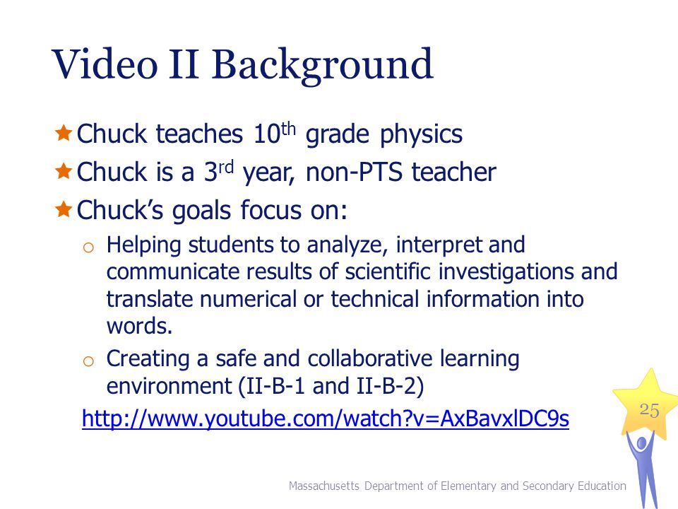 Video II Background Chuck teaches 10 th grade physics Chuck is a 3 rd year, non-PTS teacher Chucks goals focus on: o Helping students to analyze, interpret and communicate results of scientific investigations and translate numerical or technical information into words.