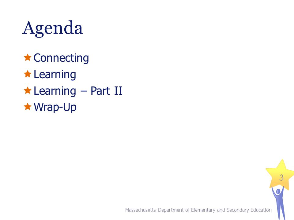 Agenda Connecting Learning Learning – Part II Wrap-Up Massachusetts Department of Elementary and Secondary Education 3