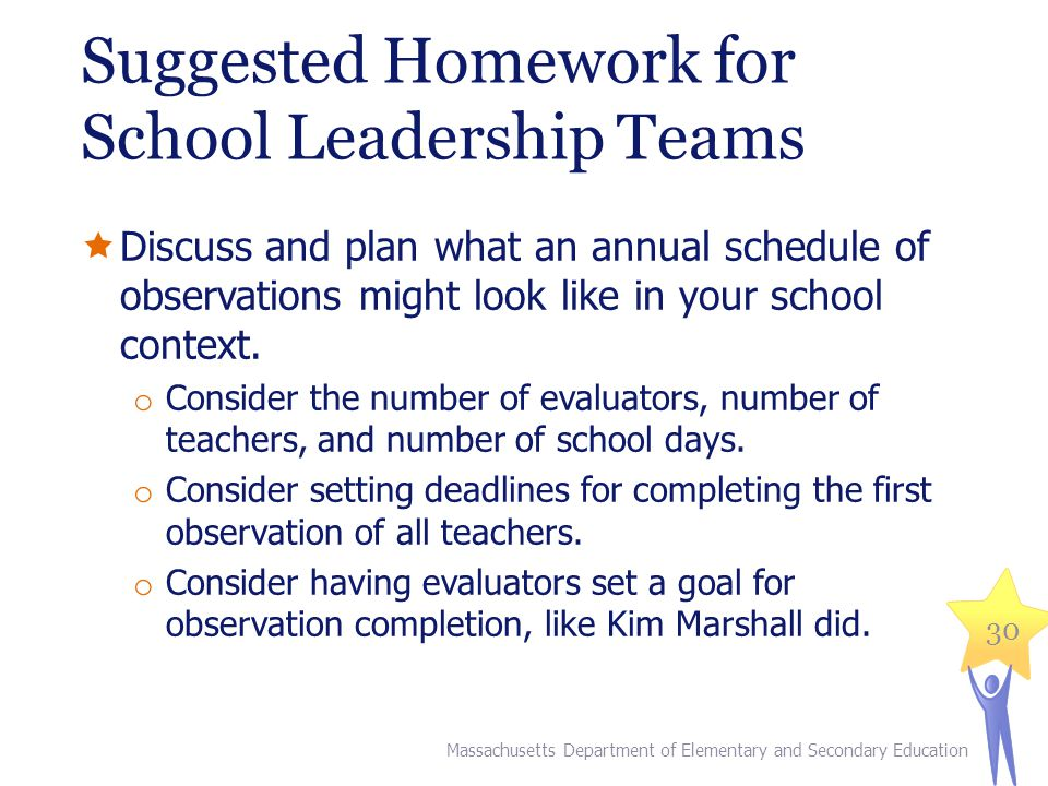Suggested Homework for School Leadership Teams Massachusetts Department of Elementary and Secondary Education 30 Discuss and plan what an annual schedule of observations might look like in your school context.